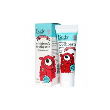 Buds Organics Strawberry Children's Toothpaste With Fluoride (3-12 years old)