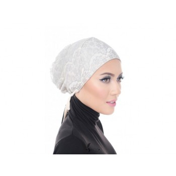 Shawlbyvsnow Inner Lace Bonnet Cap Classic Grey