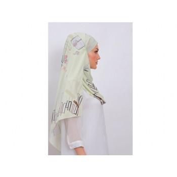 Shawlbyvsnow Printed Chiffon Long Headscarf Anise Flower