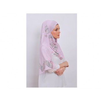 Shawlbyvsnow Printed Chiffon Long Headscarf Orchid Bloom