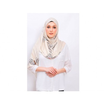 Shawlbyvsnow Printed Chiffon Long Headscarf White Sand