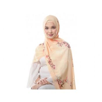 Shawlbyvsnow Printed Chiffon Long Headscarf Transparent Yellow