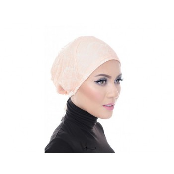 Shawlbyvsnow Inner Lace Bonnet Cap Whipped Peach
